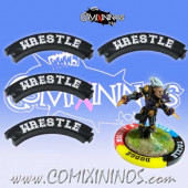 Set of 4 Black Wrestle Puzzle Skills for 32 mm GW Bases - Comixininos