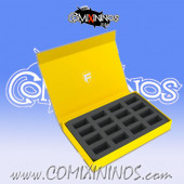 Yellow Color Magnetic Box of One Floor for 16 Blood Bowl Miniatures with 25 mm Bases - Feldherr